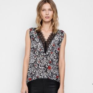 Zadig & Voltaire floral print silk sleeveless top